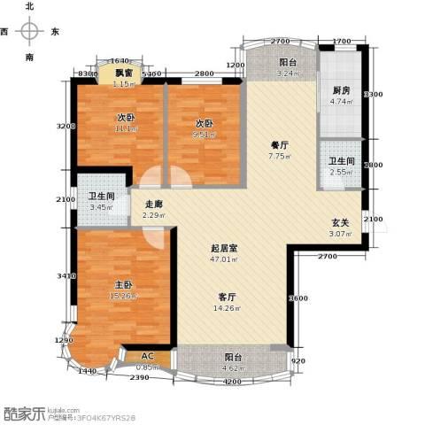 俪晶阁3室0厅2卫1厨105.56㎡户型图