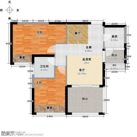 辉煌国际城2室0厅1卫1厨92.00㎡户型图