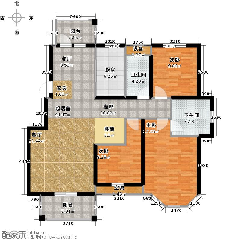 上院48A-1三室两厅一卫 建筑面积185.89平米 使用面积99.40平米户型