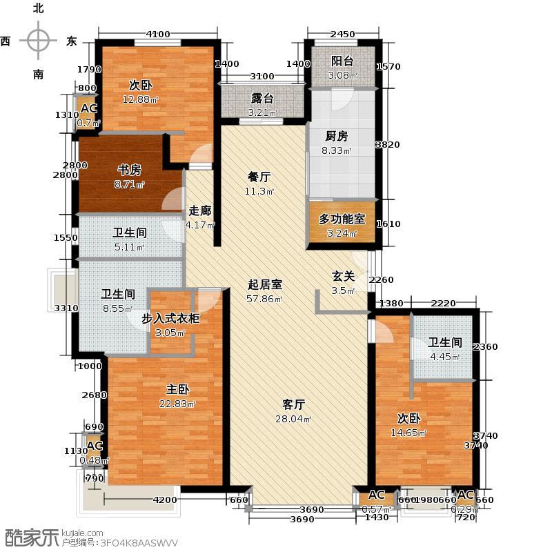 富力桃园214.71㎡浅水滩C11三单元02四室两厅两卫3-21层户型