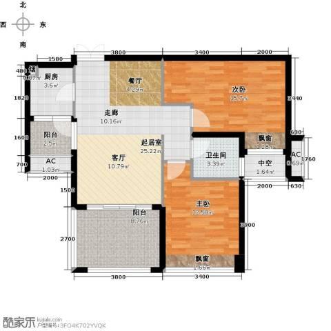 辉煌国际城2室0厅1卫1厨91.00㎡户型图