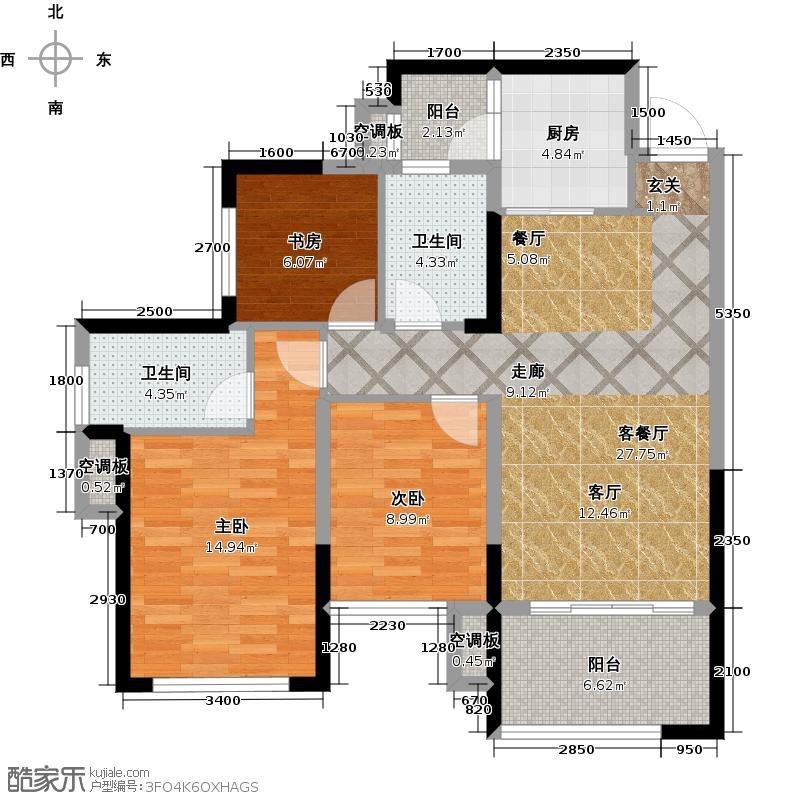 荣和公园悦府户型3室1厅2卫1厨