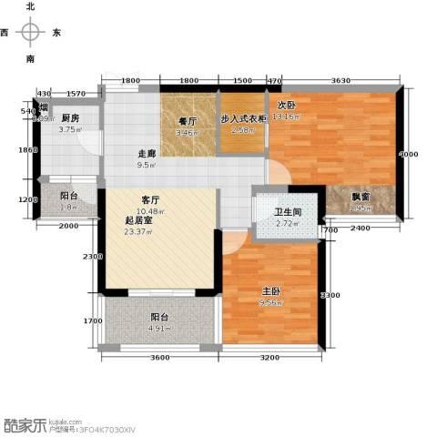 辉煌国际城2室0厅1卫1厨82.00㎡户型图