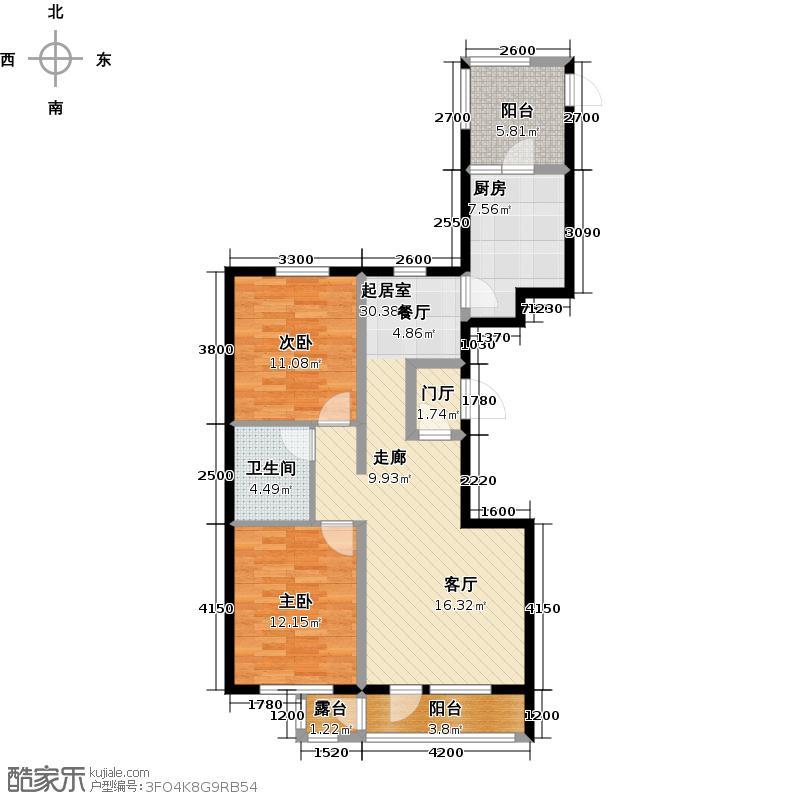 正垣・美仑堡110.61㎡D户型两室两厅一卫约110.61平方米户型2室2厅1卫