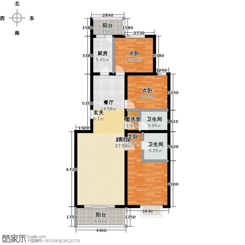 拱辰星园122.27㎡5b三室二厅户型