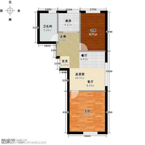 海派优座2室0厅1卫1厨76.00㎡户型图