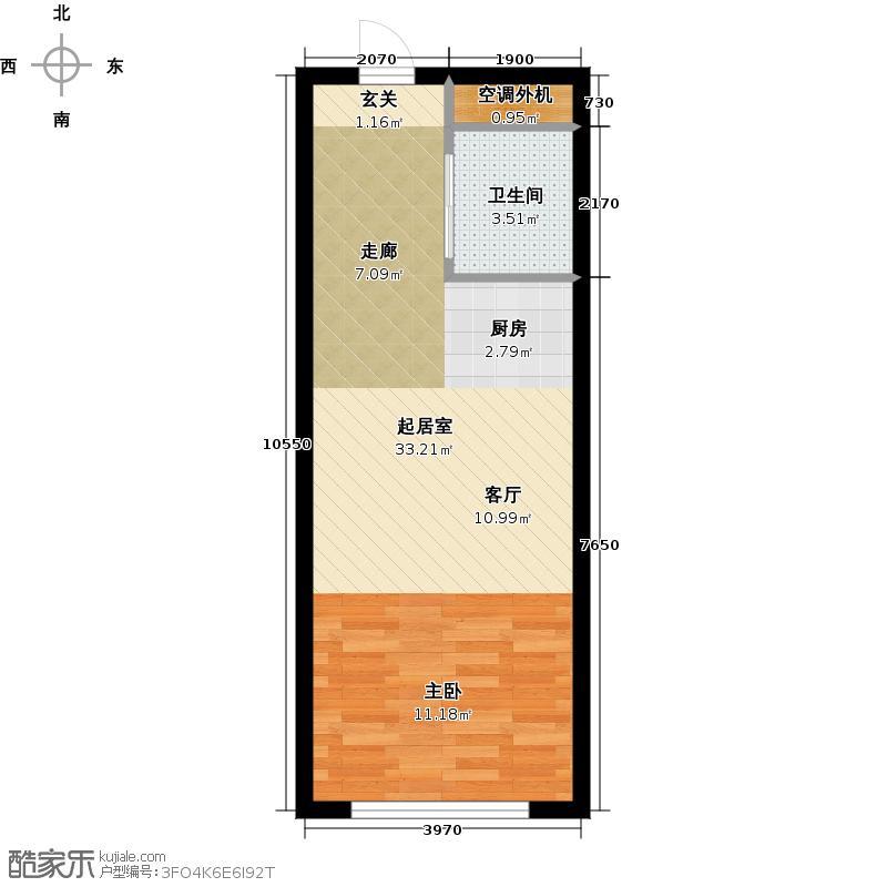 海派优座37.00㎡一房一厅一卫户型