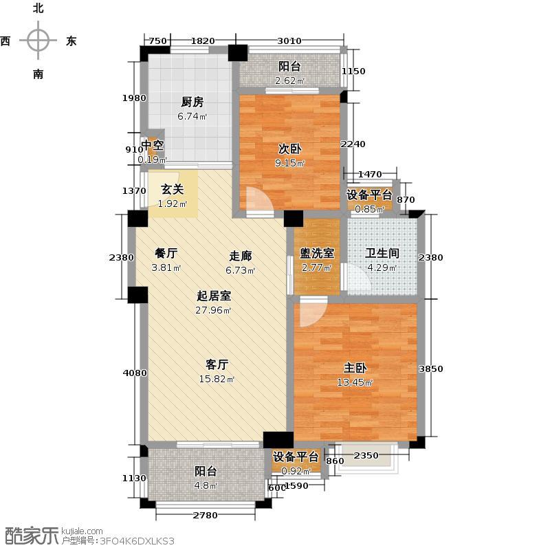 东渡伊顿小镇85.00㎡两室两厅一卫85平米户型2室2厅1卫