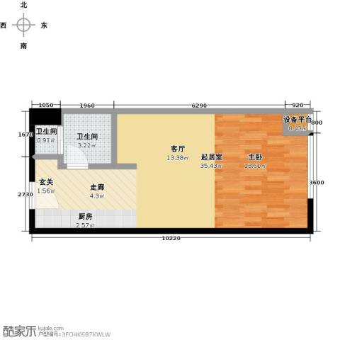 新城府翰苑2卫0厨45.00㎡户型图