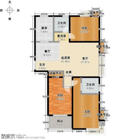新城府翰苑3室0厅2卫1厨127.00㎡户型图
