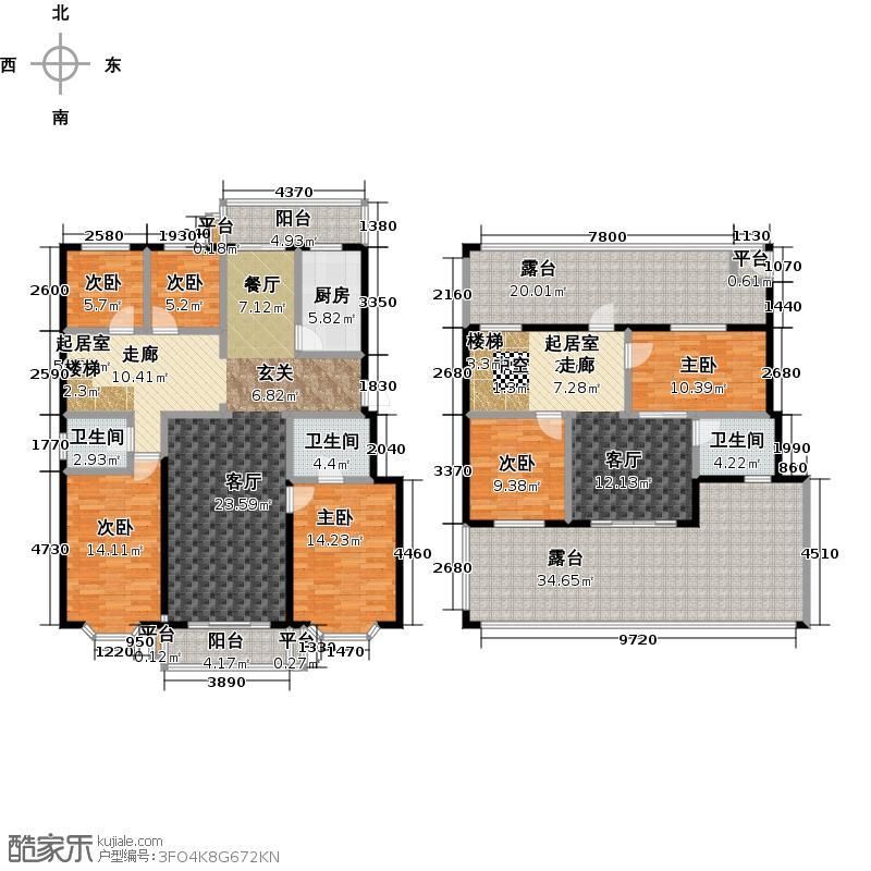 天通・公园里268.69㎡25号楼C2户型六室三厅三卫户型6室3厅3卫