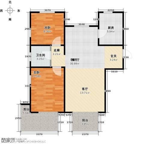 金海城2室1厅1卫1厨99.00㎡户型图