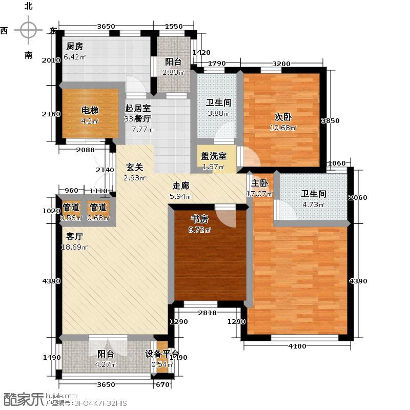 世纪梧桐公寓134.62㎡N型 三室二厅二卫户型
