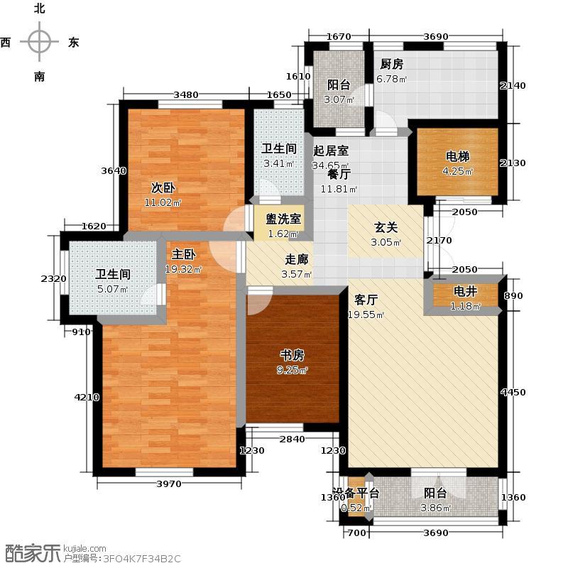 世纪梧桐公寓137.17㎡M型 三室二厅二卫户型
