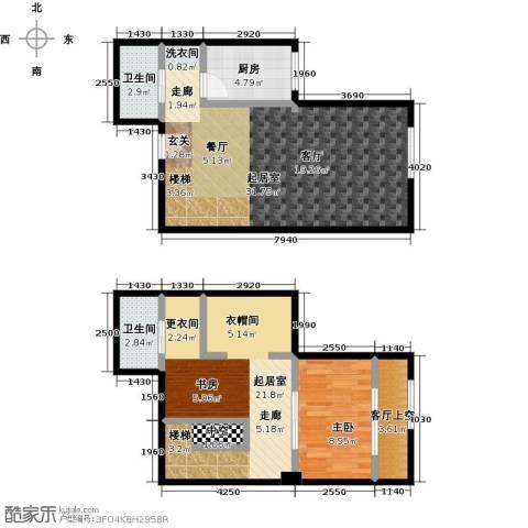 天通・公园里1室0厅2卫1厨76.68㎡户型图