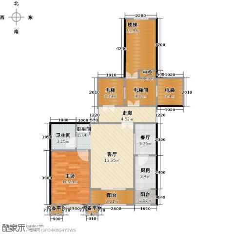 都市节奏1室1厅1卫1厨74.00㎡户型图