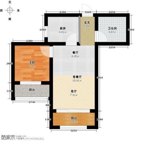 西江月1室1厅1卫1厨53.00㎡户型图