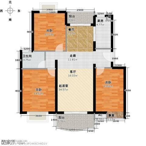 万达西双版纳国际度假区3室0厅1卫1厨131.00㎡户型图