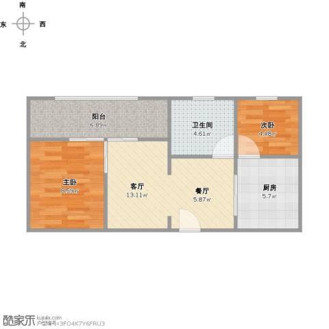 世纪非凡怡园2室1厅1卫1厨60.00㎡户型图