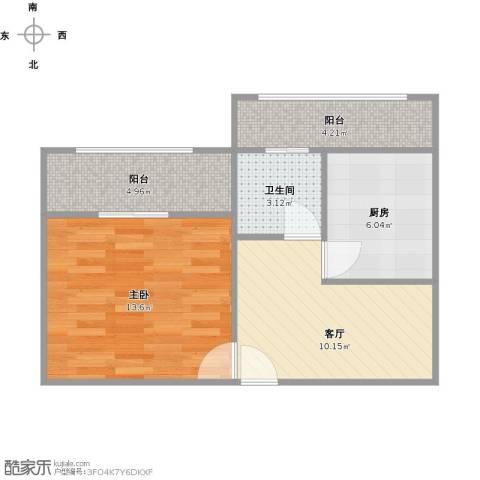 世纪非凡怡园1室1厅1卫1厨58.00㎡户型图