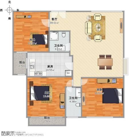 永升丽景3室1厅2卫1厨145.00㎡户型图