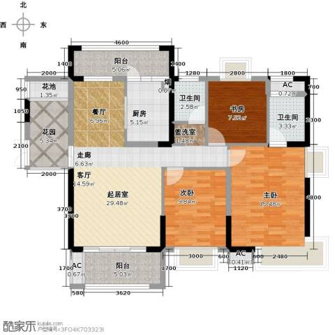 辉煌国际城3室0厅2卫1厨122.00㎡户型图