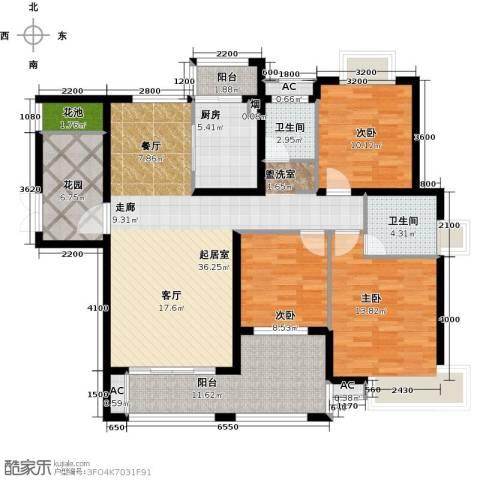 辉煌国际城3室0厅2卫1厨132.00㎡户型图