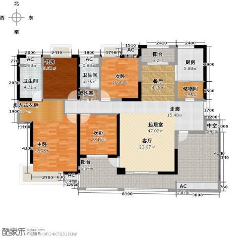 辉煌国际城4室0厅2卫1厨172.00㎡户型图