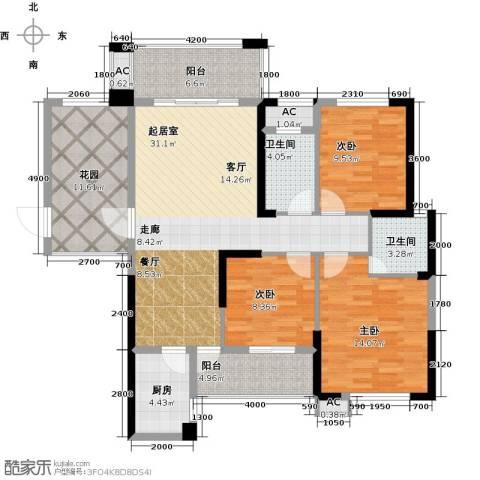 紫鑫御湖湾3室0厅2卫1厨115.00㎡户型图