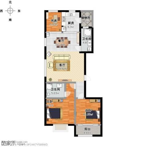 高新城市广场3室1厅2卫1厨138.00㎡户型图