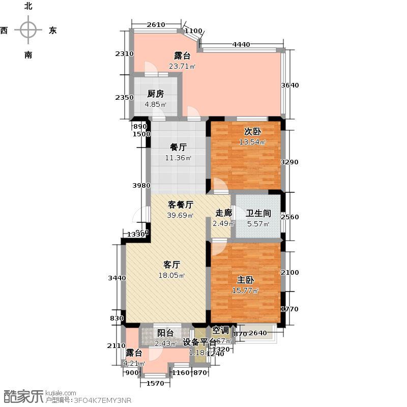 俊城橡树原H4二室一厅一卫户型