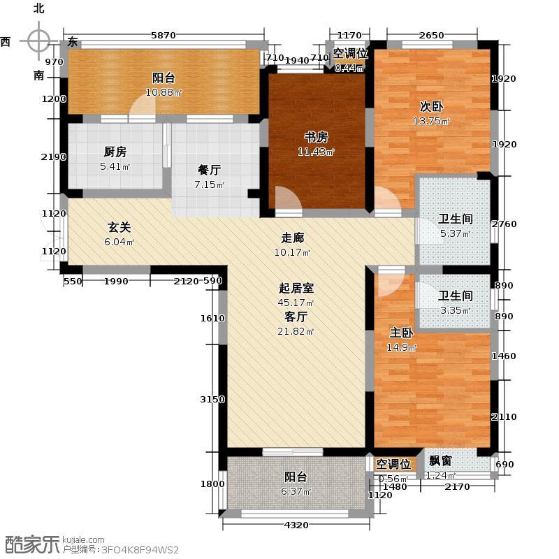 世茂香槟湖135.00㎡30#、31#、35#P户型三房两厅两卫户型3室2厅2卫