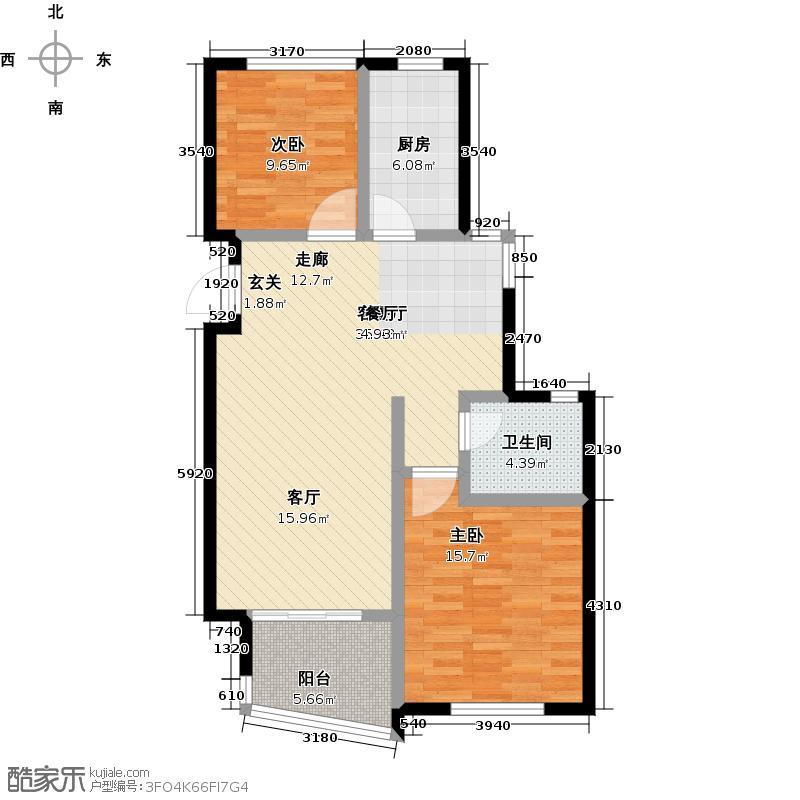 嘉凯城时代城二期东方龙域87.81㎡高层B5户型2室2厅1卫