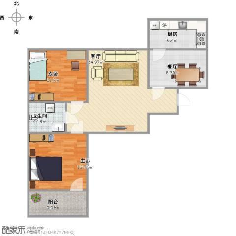 机车工厂九宿舍2室2厅1卫1厨100.00㎡户型图