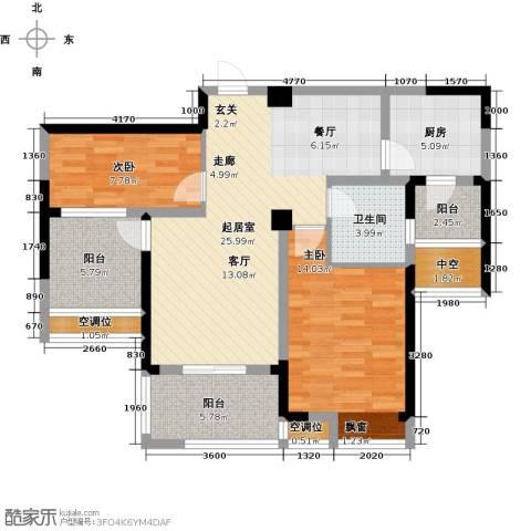 世茂香槟湖2室0厅1卫1厨88.00㎡户型图