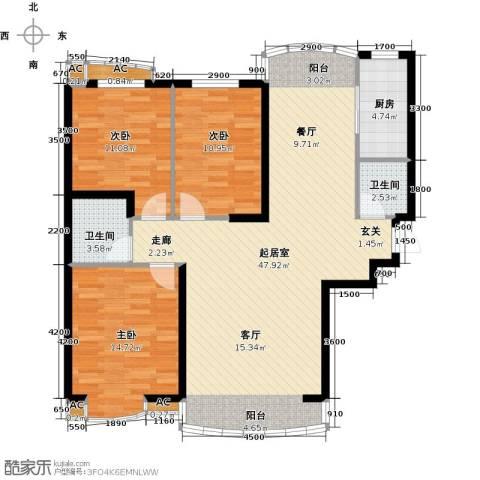 俪晶阁3室0厅2卫1厨108.70㎡户型图