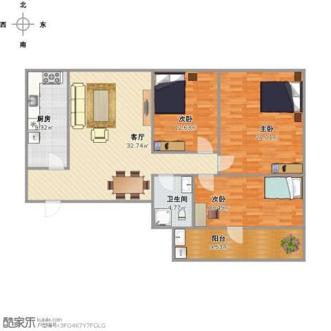 机车工厂九宿舍3室1厅1卫1厨138.00㎡户型图