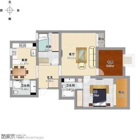 锦湖家园3室1厅2卫1厨123.00㎡户型图