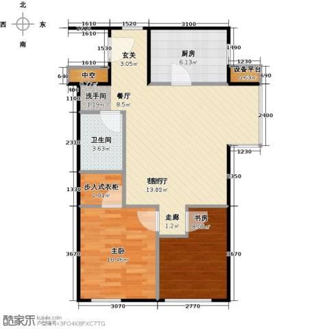 万科金阳国际公寓2室1厅1卫1厨64.01㎡户型图