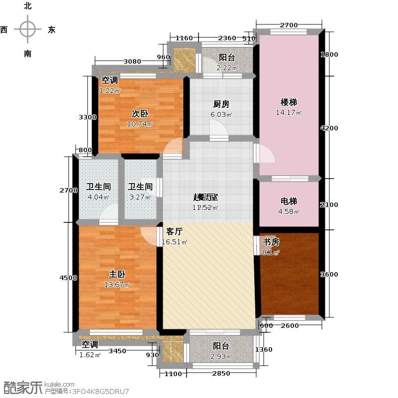 新龙城109.28㎡B1三室二厅二卫户型