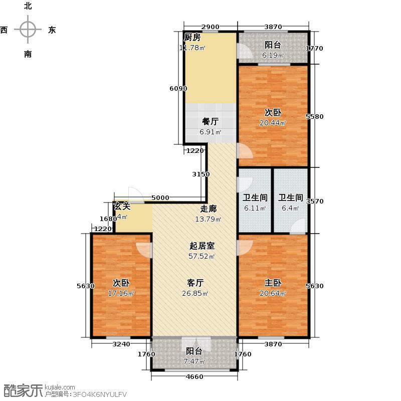丽水雅居150.86㎡B7-104户型3室2厅2卫建筑面积户型3室2厅2卫
