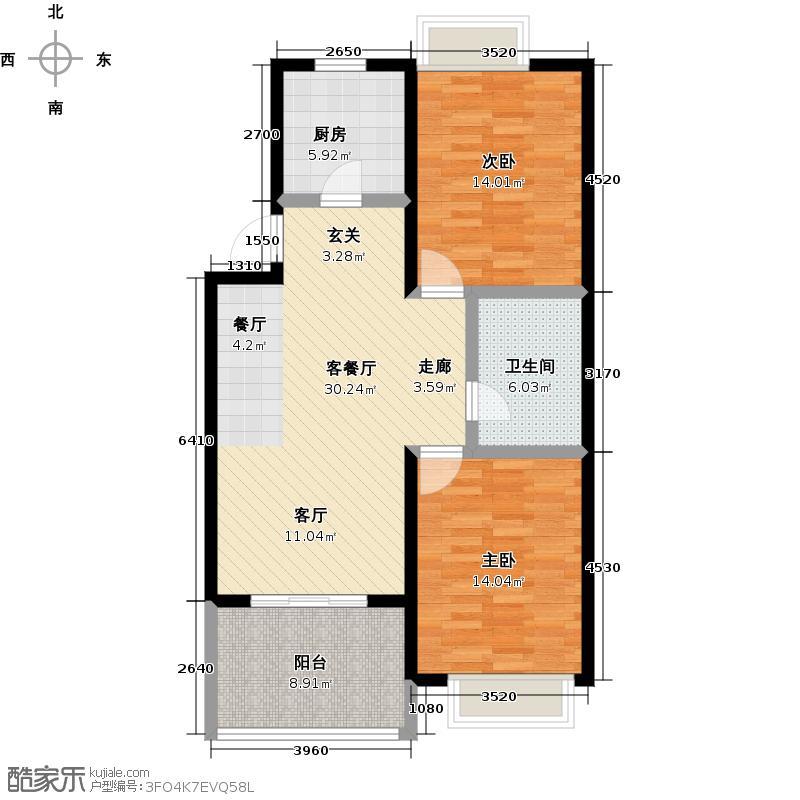 海信马山新城90.00㎡2010年9月27日户型3室2厅1卫