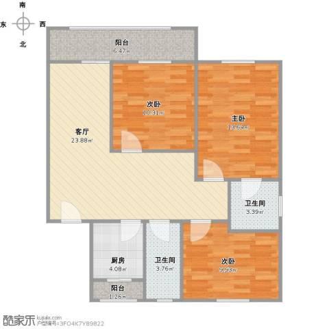 嘉泰花园公寓3室1厅2卫1厨104.00㎡户型图