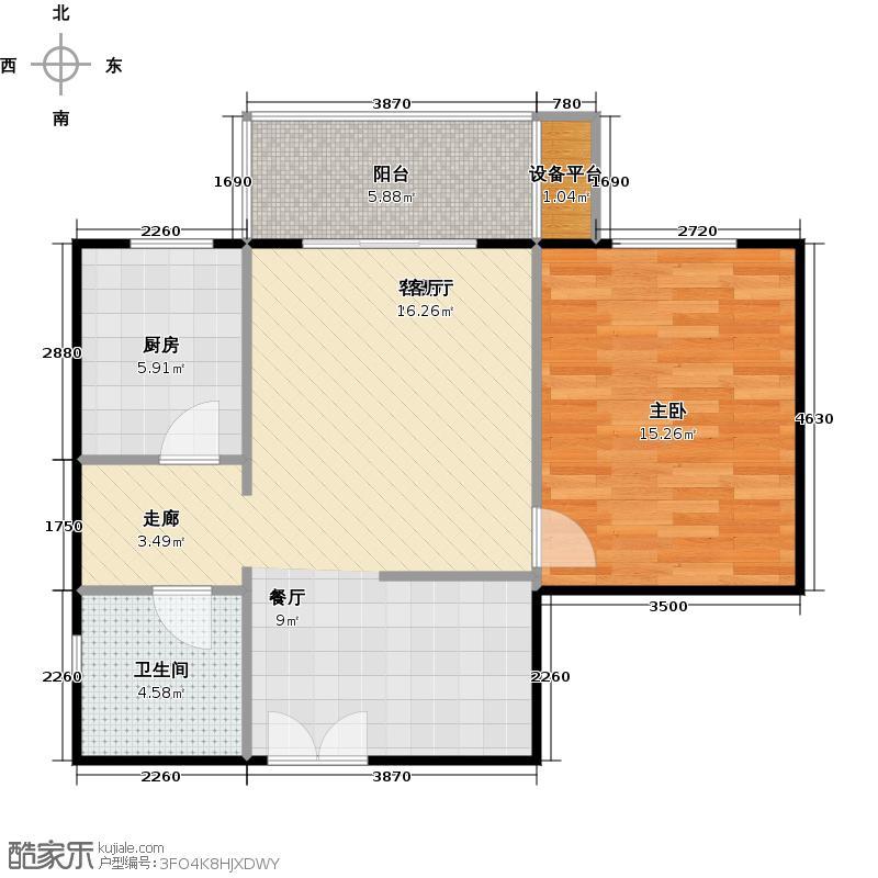 上东上层65.00㎡E户型一室两厅一卫户型