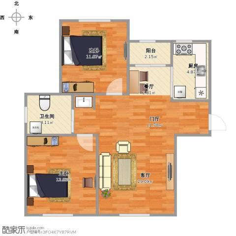 檀香湾檀越2室1厅1卫1厨86.00㎡户型图
