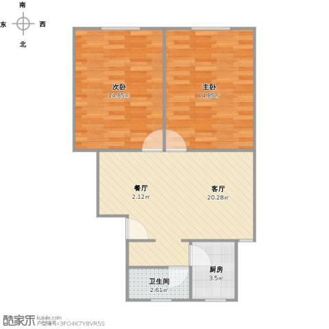 海阳一村2室1厅1卫1厨74.00㎡户型图