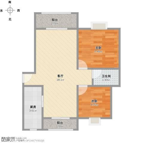 世纪非凡锦城2室1厅1卫1厨56.00㎡户型图