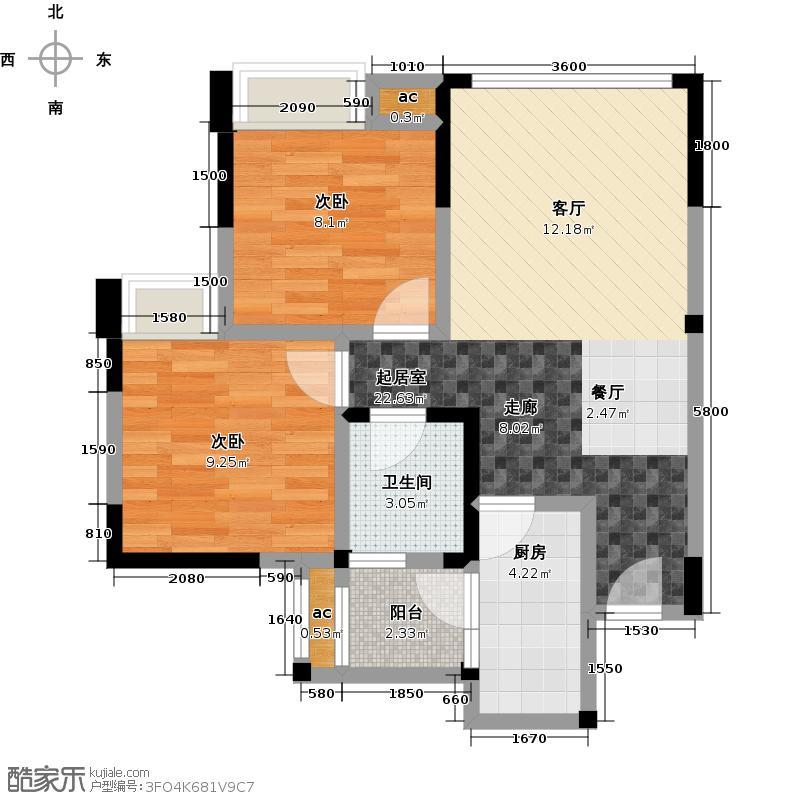 荣盛香榭兰庭68.00㎡B3/2室2厅1卫/约68㎡户型2室2厅1卫