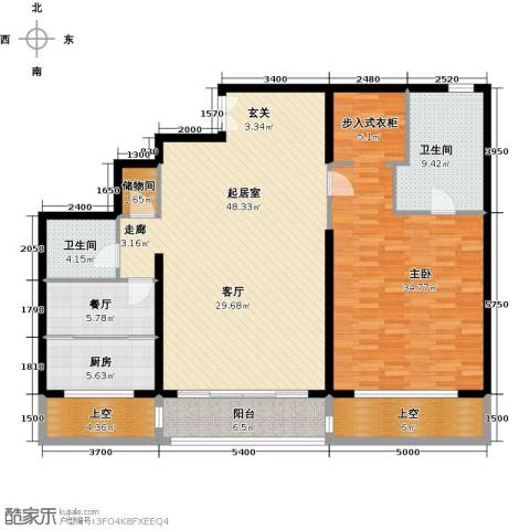 万达大湖公馆1室1厅2卫1厨177.00㎡户型图