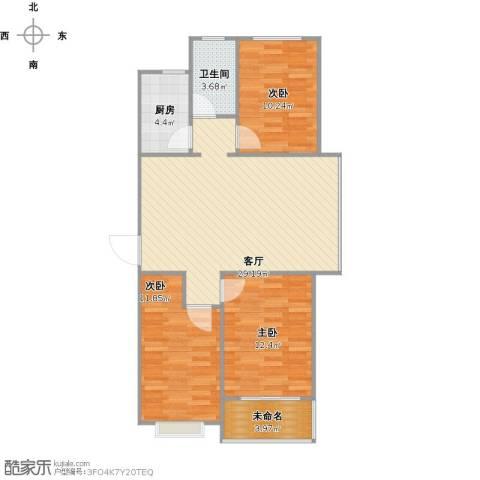 凯隆御景3室1厅1卫1厨102.00㎡户型图